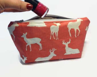 Deer Makeup Bag, Cosmetic Bag, Woodland Rustic Zippered Pouch, Bridesmaid gift