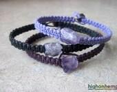 Raw Amethyst Bracelet, Healing Jewelry, Hemp Bracelet, Minimalist Bracelet