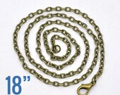 "5 Bronze Necklaces - 4x3mm - Flat Link - 24""  -  Ships IMMEDIATELY from California - CH673"