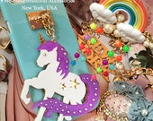 Beautiful Star Magic Unicorn Gold Chain Charms Pastel Candy Shell Case Made w/ CRYSTALLIZED™ Swarovski Elements iPhone X 8 7 6s PLUS SE