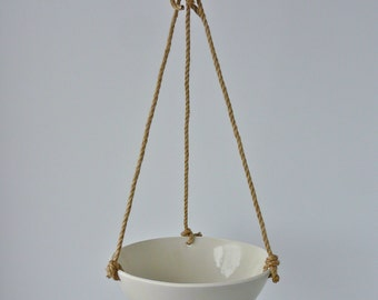 Extra Large Hanging Ceramic Basket, Jute or Cotton Cord, Smooth Porcelain Bowl Design