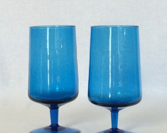 Morgantown Drink Glass Holds 14 fl. oz. Blown Peacock Blue Short Drawn Stem Stands 6 1/4""