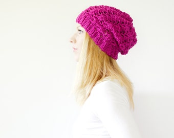 the SUMTER hat - Slouchy hat beanie crocheted - hot pink - wool