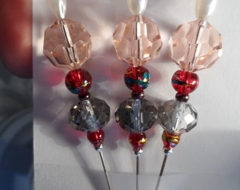 Quilting Pins - Beaded Quilting Pins - Glass Beaded Stick Pins - Beaded Sewing Pins - Corsage Pins - Stick Pins - Beaded Pins