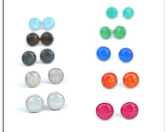 Linen stud earrings, Choose your color. post earrings, tiny studs bridesmaid jewelry eco friendly jewelry, wood earrings, minimalist jewelry