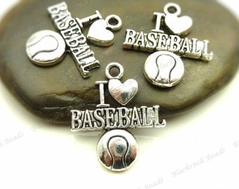 Bulk 18 I Love Baseball Charms or Pendants 22x18mm Antique Silver Tone Metal - Athletic Sports Charms - BE30