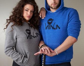 Ninja Hoodie, Ninja Sweatshirt, Mens or Womens Hoodie, Eco- Fleece Hoodie by Uni-T