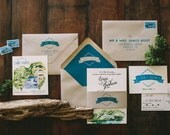 Rustic Watercolor Lake Tahoe Mountain Wedding Invitation
