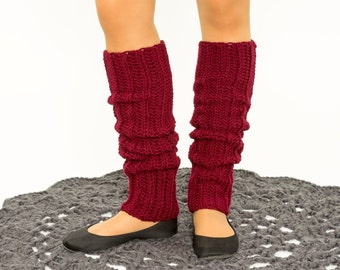 Burgundy Knit Leg Warmers, Crocheted Leggings, Handmade Women's Warm Winter Accessory, Dance Wear, Exercise, Ballet, Jazz 80's Style
