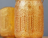 Bohemian Decor  Hanging Lantern, Mason Jar With Tangerine Glass and Gold Accents, Upcycled Gypsy Lighting
