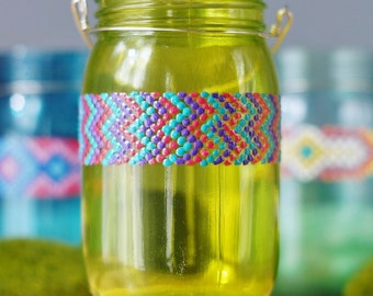 Bohemian Home Decor, Summer Inspired Citron Tinted Mason Jar with Chevron Friendship Bracelet Inspired Design