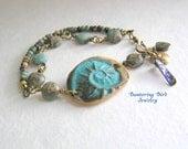 Aqua Terra Jasper Bracelet with Spiral Shell, Blue Ceramic Cuff Bracelet, Wire Wrapped Beach Bracelet, Abalone Brass Charms, Summer Jewelry