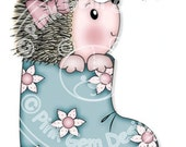 Digi Stamp Hedgy with Bee  - Birthday, Hedgehog, Mothers Day,Greetings Cards