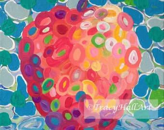 Apple Painting Fruit Art Abstract Coral Gray Blue Colorful Original Art Canvas 11 x 14
