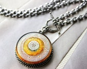 Art Glass Necklace Pendant Orange Sunny Summer Jewelry, Shimmering Orange Tangerine,Toggle Necklace, Czech Glass Necklace veryDonna