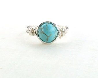 Turquoise Howlite Wire Wrapped Ring, Turquoise Stone Ring, Sterling Silver Filled Ring, Any Size