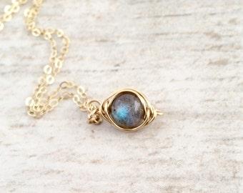 Labradorite Necklace in 14k Gold Filled