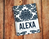 Baby Book - Baby Memory Book - Modern Baby Book - Damask - Navy Blue