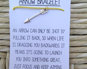 Arrow Charm Friendship Bracelet with Quote