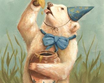 Sweet Like Honey Print 8x10 - white spirit bear, painting, art, birthday, illustration, party, honey, pottery, children's art, nursery, cute