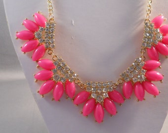 SALE Bib Necklace with Pink and Clear Rhinestone Pendants on a Gold Tone Chain
