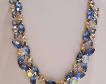 Blue and Aurora Borealis Rhinestone Choker Necklace