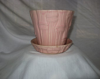 Vintage USA Art Pottery Pink Bamboo Planter with Attached Saucer