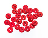 "16 Vintage 3/4"" Plastic 2 Hole Buttons. Darker Red Tone with a Design of 2 Raised, Shiny Pearlized Bands. Sewing, Applique. Item 3536Pd"