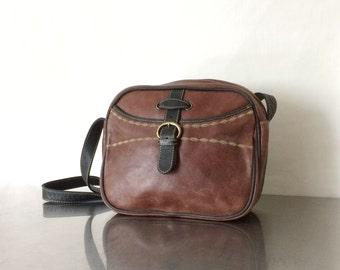 Leather Shoulder Bag - Vintage Brown Boho Purse