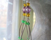 Mardi Gras Long Dangle Earrings, Purple, Green and Gold Beads, Fat Tuesday, New Orleans, Sterling Silver Jewelry, Womens Jewelry, Handmade