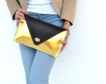 Brown and gold leather clutch / Handmade leather bag / Italian leather