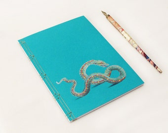 Sea Snake. Travel Journal.  Embroidered A5 Notebook. Sea Monster. Turquoise Marine Book. Mythological Creature. Vintage Monster Notebook