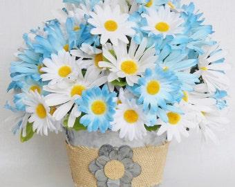 Silk Flower Arrangement, Blue Daisies, White Daisies, Metal Tub Vase, Artificial Flower Arrangement, Silk Floral Arrangement, Home Decor,