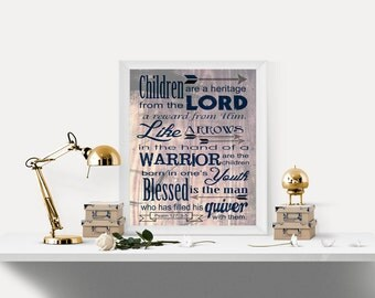 Bible verse, Father's Day gift, Scripture art, Psalm 127:3-5, Children are a Heritage from the Lord, Rustic, Wood, INSTANT DOWNLOAD