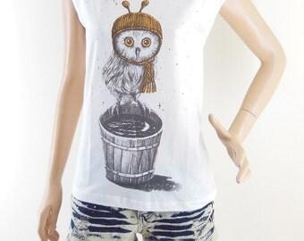 Owl Shirt Owl T Shirt Animal Tshirt Owl Tee Women Tshirt Women TShirt Screen Print Size S
