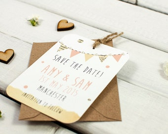 Rustic bunting save the date - gem embellishment peach