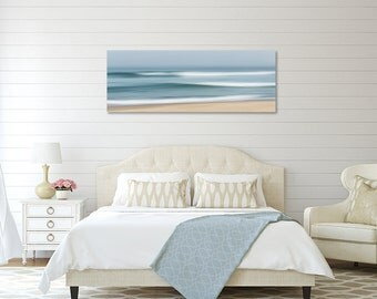 Large Abstract Beach Canvas Wall Art, Ocean Seascape Photography, Cape Cod Beach Panorama Nautical Coastal Decor Teal Blue Seafoam Tan Beige