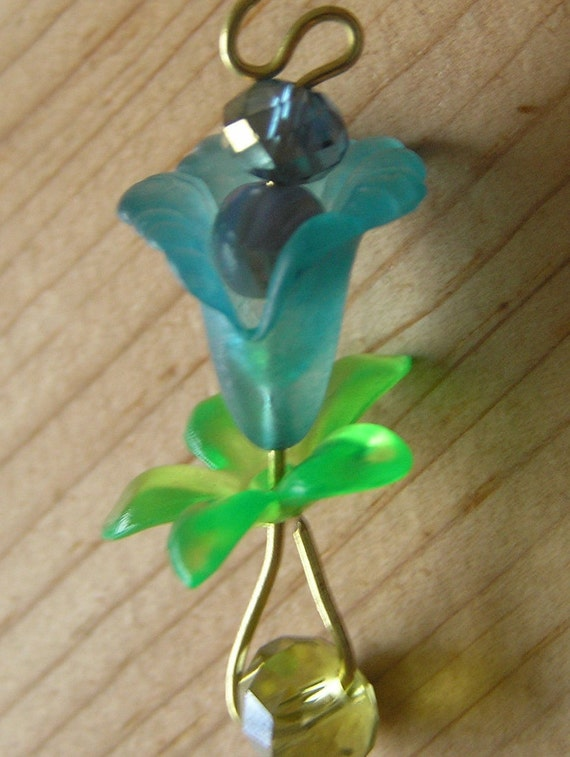 Upright Frosted Blue Lucite Flower Pendant on Etsy