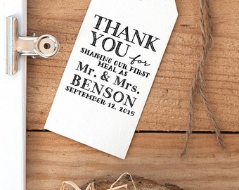 Thank You For Sharing Our First Meal Wedding Rubber Stamp, Wedding Favor Stamp, Wedding Dinner Stamp, Wedding Reception Stamp, Wedding Stamp