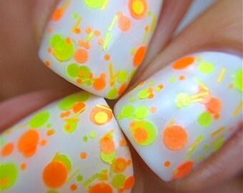 Citrus Twist - Polka Dot-NEON-Custom-Blended Indie Glitter Nail Polish / Lacquer