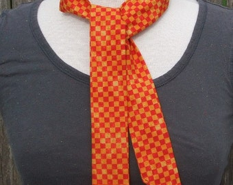 Neck cooler - reusable heat relief polymer filled tie - sports wrap - cooling scarf neckband - first aid therapeutic wrap - red orange check