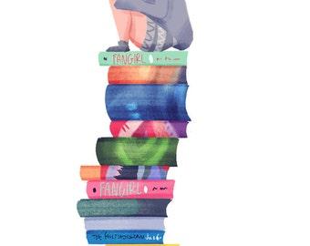 Bookworm Mini Print