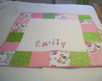 Custom Baby Quilt with ONE Name -Baby Quilt- Personalize Baby Quilt -Christening Quilt-Newborn Photo Prop- Baby Quilt
