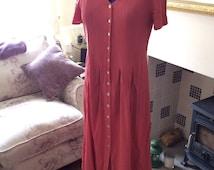 Vintage Ladies Dress - Dusty Pink Richards Dress 1980's - Button Up Retro Dress - Size 12 Ladies Clothing
