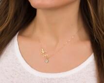 Evil eye necklace / Leaf necklace / Gold branch necklace / Laurel leaf / Bridesmaid necklace / Silver leaf necklace / Gold necklace | Leneus