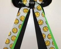 Softball Ribbon Ponytail Holder Hair Bow Neon Green Black Girls Kids Accessories Ties Spirit Team Uniform Accessories Travel League Bulk Lot