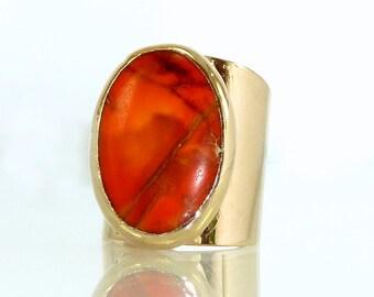 Jasper Ring, Gemstones Ring, Cocktail Ring, 24K Gold Adjustable Wide  Band Ring, Gold fashion ring, Statement Jasper Ring.