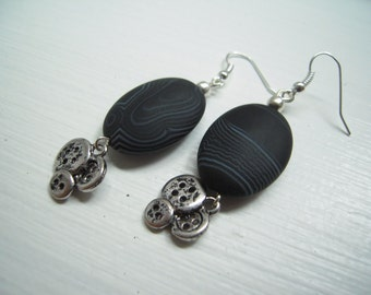 UNIQUE black agate earrings