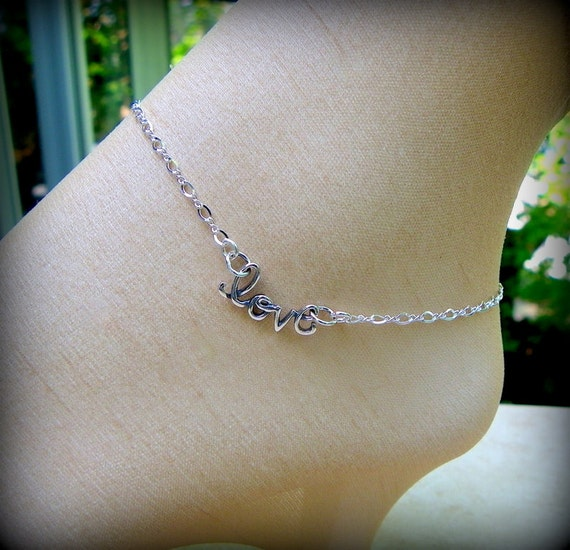Sterling silver love anklet or bracelet, love jewelry, bridal anklet, sandal jewelry, high heel accessory