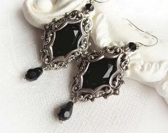 Back jewel dangling earrings gothic victorian dangle earrings black stone hanging earrings black crystal baroque earrings jewelry gift